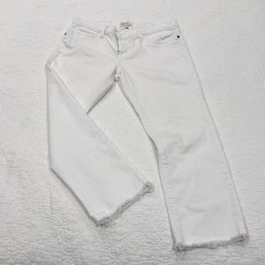 Current/Elliott white raw hem cropped jeans 29